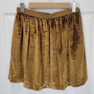 CLUB MONACO Gold Velvet Isabella Mini Skirt 6
